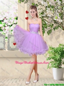 Simple A Line Strapless Lavender Mother Of The Bride Dresses with Belt