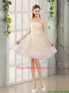 2016 Fall Sexy A Line Strapless Short Mother Of The Bride Dresses with Belt
