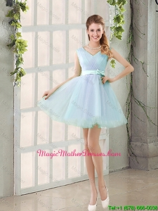 2016 Summer V Neck Strapless Short Mother Of The Bride Dresses with Bowknot