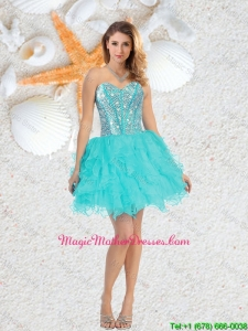 Cheap Sweetheart Beaded and Ruffles Mother Of The Bride Dresses in Aqua Blue
