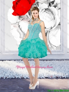 Classic Ball Gown Beaded Mother Of The Bride Dresses with Straps in Turquoise