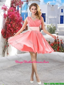 Perfect Short Belt and Ruched Mother Of The Bride Dresses in Watermelon