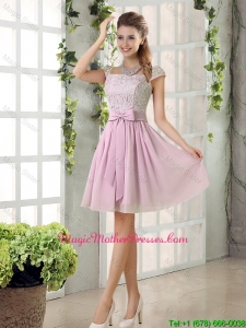 Popular A Line Square Lace Mother Of The Bride Dresses with Bowknot