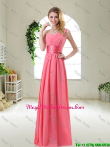 Cheap Watermelon Red Mother Of The Bride Dresses with One Shoulder