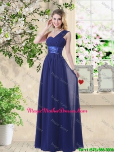 Classic One Shoulder Floor Length Mother Of The Bride Dresses in Navy Blue