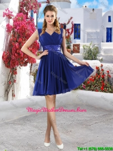 Classic V Neck Short Mother Of The Bride Dresses in Royal Blue