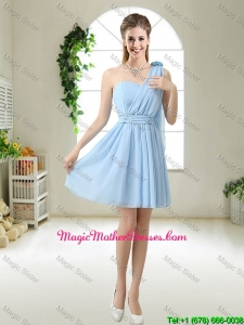 Decent One Shoulder Mother Of The Bride Dresses with Hand Made Flowers
