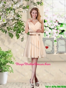 Elegant Short V Neck and Bowknot Elegant Short V Neck and Bowknot Bridesmaid Dresses in ChampagneDresses in Champagne