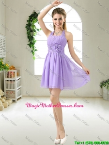 Modest Halter Top Hand Made Flowers Mother Of The Bride Dresses in Purple