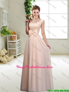 Perfect Bowknot Scoop Mother Of The Bride Dresses in Champagne