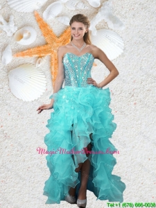 Popular Beaded Sweetheart Aqua Blue Mother Of The Bride Dresses with High Low