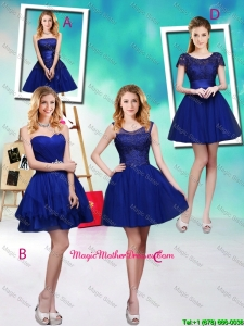 Wonderful Mini Length Royal Blue Mother Of The Bride Dresses with Appliques