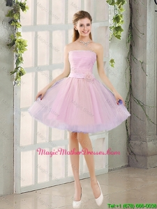 2016 Fall A Line Strapless Ruching Mother Of The Bride Dresses with Belt