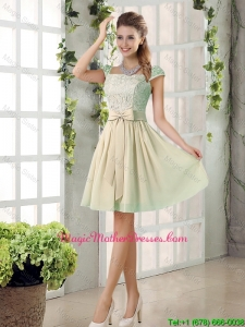 2016 Spring A Line Square Mother Of The Bride Dresses with Bowknot