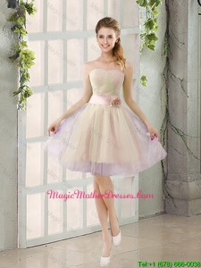 2016 Summer A Line Strapless Ruching Mother Of The Bride Dresses with Belt