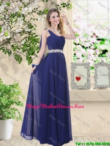 Comfortable One Shoulder Mother Of The Bride Dresses in Navy Blue