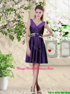 Discount V Neck Zipper Up Mother Of The Bride Dresses in Dark Purple