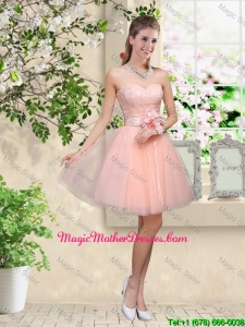 Elegant Sweetheart Baby Pink Mother Of The Bride Dresses with Appliques and Belt