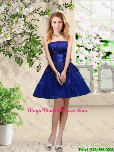 Popular Hand Made Flowers Royal Blue Mother Of The Bride Dresses with Appliques