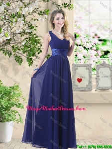 Wonderful Ruched Navy Blue Mother Of The Bride Dresses with V Neck