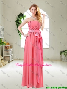 Beautiful Strapless Watermelon Red Mother Of The Bride Dresses with Sash