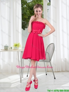 Coral Red Strapless Bowknot Mother Of The Bride Dresses for 2016 Summer