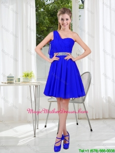 Custom Made One Shoulder Mini-length Mother Of The Bride Dresses in Royal Blue