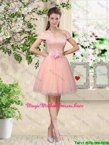 Discount Off the Shoulder Hand Made Flowers Mother Of The Bride Dresses in Baby Pink