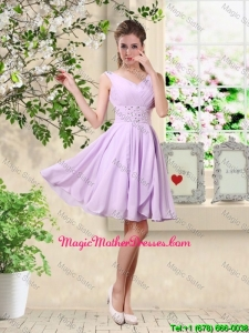 Popular V Neck Lavender Mother Of The Bride Dresses with Beading