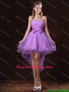 Pretty Strapless Bowknot Mother Of The Bride Dresses with High Low