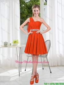 Rust Red One Shoulder Mother Of The Bride Dresses with Beading and Belt