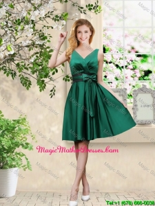 Wonderful V Neck Bowknot Hunter Green Mother Of The Bride Dresses with Knee Length