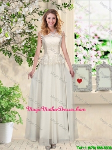 Perfect Champagne Mother Of The Bride Dresses with Appliques and Lace