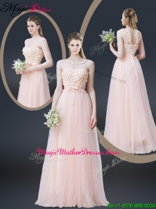 2016 Lovely Empire Bateau Mother Of The Bride Dresses with Appliques and Bowknot