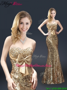 Fall Column Sequins Mother Of The Bride Dresses with Bowknot in Gold