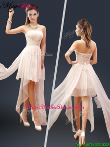 Cheap Champagne Asymmetrical Mother Of The Bride Dresses with Ruching