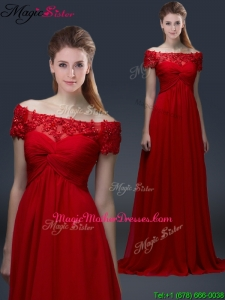 Simple Off the Shoulder Short Sleeves Red Mother Of The Bride Dresses with Appliques