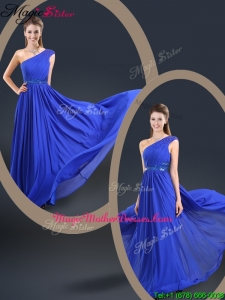 Cheap 2016 One Shoulder Blue Mother Of The Bride Dresses with Belt
