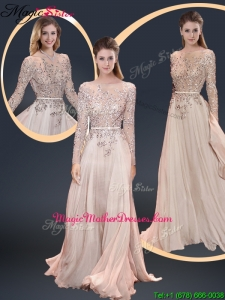 Cheap Brush Train Champagne Mother Of The Bride Dresses with Beading
