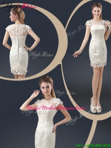 Elegant Mini Length Cap Sleeves Mother Of The Bride Dresses with Appliques