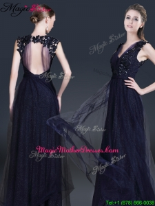 Fashionable V Neck Paillette Mother Of The Bride Dresses in Navy Blue