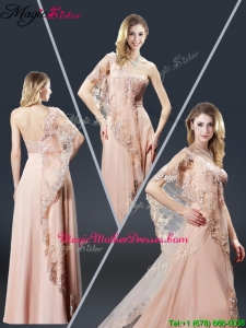 Luxurious One Shoulder Appliques Mother Of The Bride Dresses in Peach