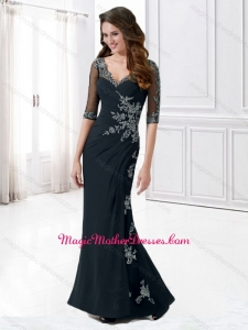 2016 Column V Neck Half Sleeves Mother of The Bride Dress with Appliques