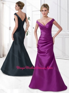 2016 Customized V Neck Cap Sleeves Satin Ruched Mother of The Bride Dress