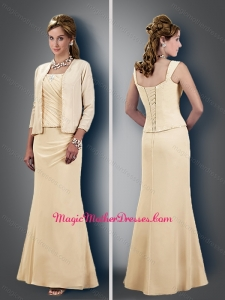 2016 Perfect Column Straps Ruched Champagne Mother of The Bride Dress with Jacket