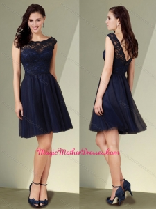 2016 Cheap Short Cap Sleeves Bateau Lace Mother of The Bride Dress in Navy Blue
