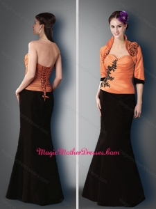 2016 Elegant Satin Black and Orange Mother of The Bride Dress with Appliques and Jacket