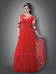 2016 Empire Bateau 3/4 Sleeves Red Mother of The Bride Dress with Appliques
