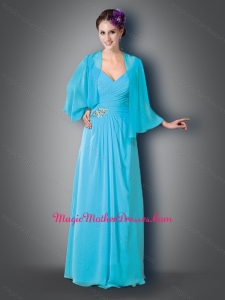 2016 Empire V Neck Cap Sleeves Baby Blue Mother of The Bride Dress