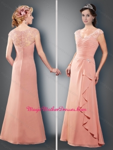 2016 Fashionable Scoop Cap Sleeves Peach Mother of The Bride Dress with Appliques